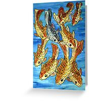 Nine Goldfish Greeting Card