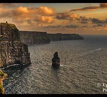 Scenic Irish Sunset Nature Landscape Rural Countryside Photography. The Cliffs of Moher Mohair Seascape, County Clare, Ireland Irlanda. by upthebanner