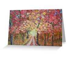 road under autumn trees Greeting Card