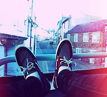 My feet on a bus by Josh  Glover