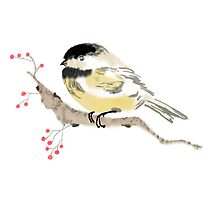 Black capped Chickadee ( Poecile atricapillus) (Chinese brush art) by Terry Bailey