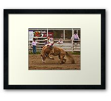 Rodeo - A Redheaded Cowboy Hangs on Waiting for the Buzzer Framed Print