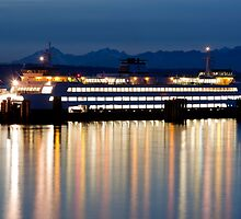 Washington State Ferry At Dusk by apt10photos