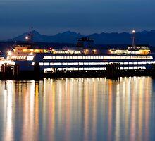 Washington State Ferry At Dusk by apt10photos