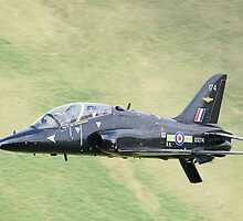 Bae Hawk T1 Lowflying in the Mach Loop in Wales by Peter Talbot