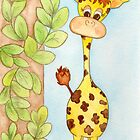 Adorable Giraffe with Leaves by Jennifer Gibson