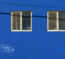Blue wall…with neat graffitti by Ian Ker