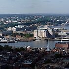 Panoramic Arial View of Boston's North End and  Inner Harbour by John Gaffen