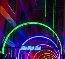 Dallas West End Neon Arches with Green Neon Building by Ron Deage