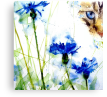 Tabby in the Cornflowers Canvas Print