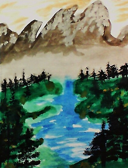 Lake Tahoe 2 of a series, watercolor by Anna  Lewis