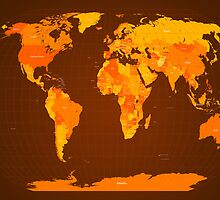 World Map Autumn Colours by ArtPrints