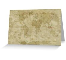 World Map Antique Style Greeting Card