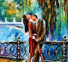 Kiss After The Rain - original oil painting on canvas by Leonid Afremov by Leonid  Afremov