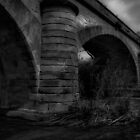Old stone bridge and the river below. by Christine Whalley
