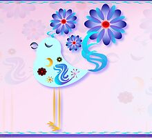 Spring Blue Bird Of Happiness  by Lotacats