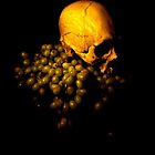 vanitas, skull and grapes  by sue skitt