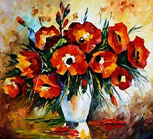 Red Bouquet - original oil painting on canvas by Leonid Afremov by Leonid  Afremov