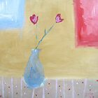 Blue Vase and Pink Buds by Jude Allman
