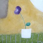 Purple Flower in White Vase by Jude Allman