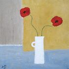 Red Poppies in White Vase by Jude Allman