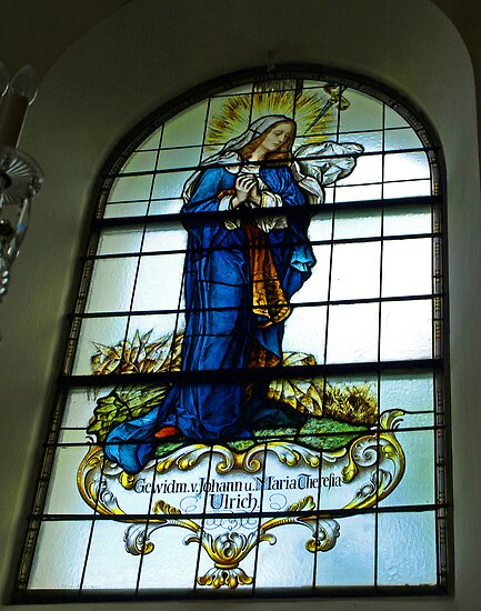 Mother Mary - Stained Glass Church Window by Lee d'Entremont