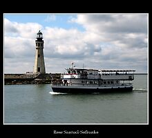 Buffalo Main Lighthouse & Miss Buffalo Tour Boat by Rose Santuci-Sofranko