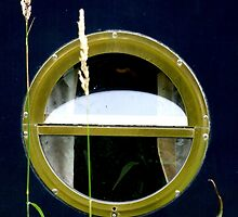 Porthole on Blue - Glasson Dock by Victoria limerick