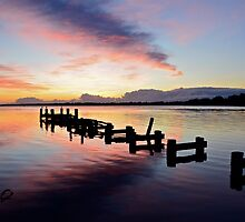 Budgewoi Lake Sunrise..15-4-11. by Warren  Patten