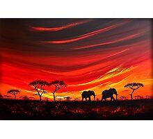 Two Elephants on the Horizon Photographic Print
