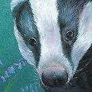 Badger in the bluebell woods by Sarah Trett