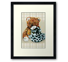 Teddy bear cuddles  Framed Print