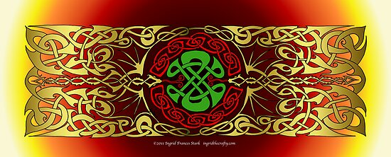 Double Celtic Dragon Banner by ingridthecrafty