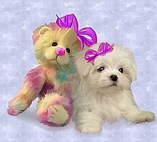 Rainbow Teddy & Puppy by Cazzie Cathcart