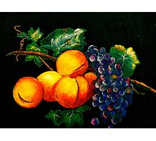 Still Life with Peaches and Grapes.. Photographic Print
