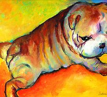 Cute Bulldog Puppy dog painting Svetlana Novikova by Svetlana  Novikova