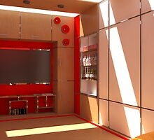 Red Entertaiment Room  by Zac  Cheney