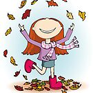 Playing in Leaves by Sarah Trett