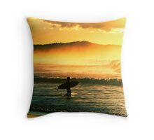 Sunrise surf. Throw Pillow