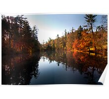 Mirrored Lake in Fall Poster