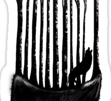 BLACK WOLF BARCODE in the woods illustration Sticker
