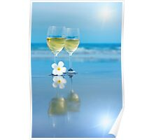 Two glasses of white wine Poster