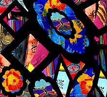 Stain Glass Image Collage Fabrics by Kayleigh Walmsley