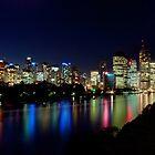 Brissie...by night - Brisbane city Qld by Beth  Wode