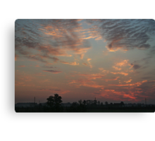 Sky fire in village early morning Canvas Print