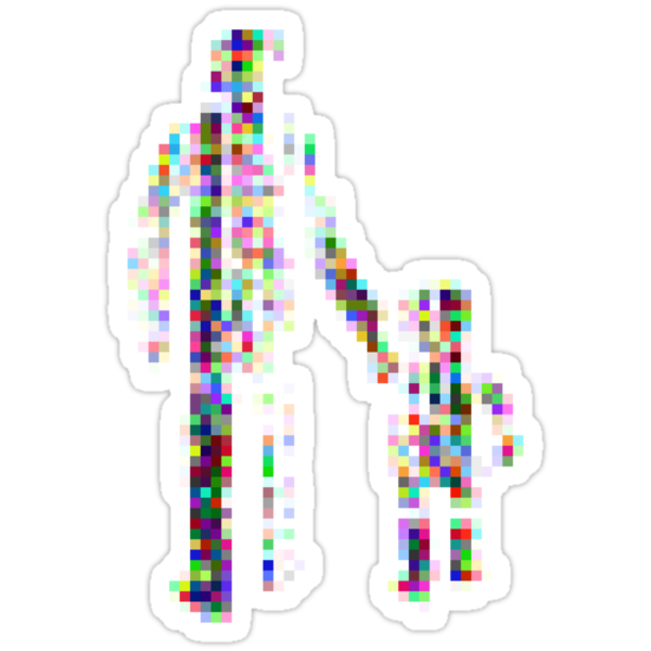 8 bit pixel pedestrians (color on white) by Pekka Nikrus