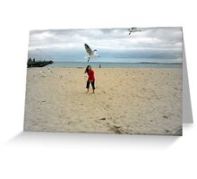 Chasing Seagulls Greeting Card