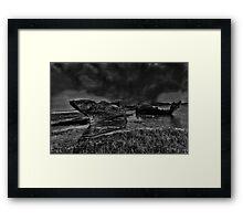 Storm Over The Wrecks Framed Print
