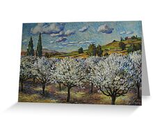 Orchard with White Blossoms Greeting Card