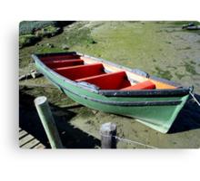 Green boat at Velddrif. Canvas Print